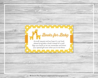 Giraffe Baby Shower Book Instead of Card Insert - Printable Baby Shower Books for Baby - Yellow Giraffe Baby Shower - Books for Baby - SP131
