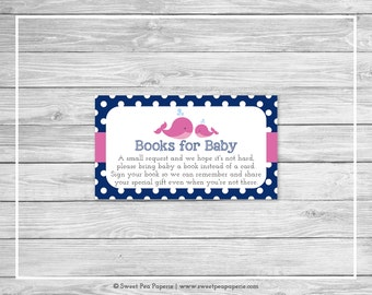 Whale Baby Shower Book Instead of Card Insert - Printable Baby Shower Books for Baby - Pink Whale Baby Shower - Books for Baby - SP128