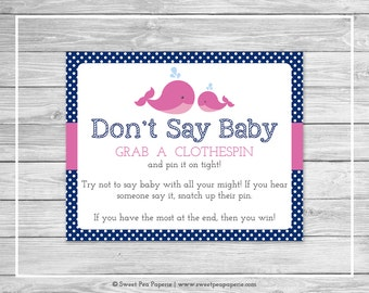 Whale Baby Shower Don't Say Baby Game - Printable Baby Shower Don't Say Baby Game - Pink Whale Baby Shower - Don't Say Baby - SP128