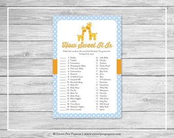 Giraffe Baby Shower How Sweet It Is Game - Printable Baby Shower How Sweet It Is Game - Blue Giraffe Baby Shower - How Sweet Game - SP130