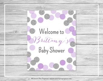 Purple and Silver Baby Shower Welcome Sign - Printable Baby Shower Welcome Sign - Purple and Silver Baby Shower - EDITABLE - SP126