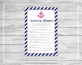 Nautical Baby Shower Nursery Rhyme Game - Printable Baby Shower Nursery Rhyme Game - Navy Pink Baby Shower - Nursery Rhyme Game - SP119