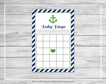Nautical Baby Shower Baby Bingo Game - Printable Baby Shower Baby Bingo Game - Navy Green Baby Shower - Baby Shower Bingo Game - SP120