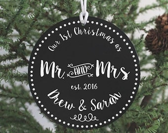 Christmas Ornament Mr and Mrs Ornament First Christmas Married Personalized Wedding Gift Married Christmas New Item Mr. and Mrs. IB2OFS
