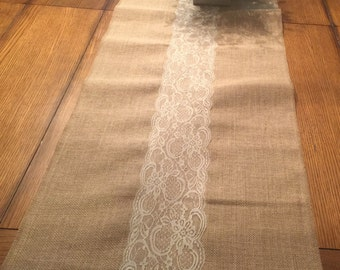 Burlap lace table runner 14x36