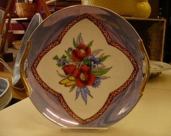 Decorative Luster Ware Plate with Floral Design and Gold Handles, made in Japan