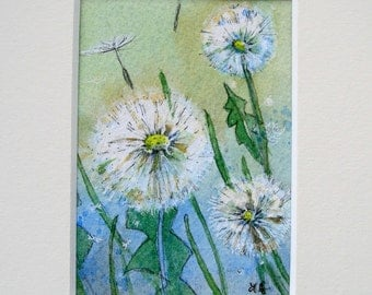 "Original mixed media ACEO,"" Dandelions"" mounted, ready to frame"