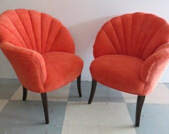 Pair Of 1940's Grosfeld House Mid-Century Modern Asymmetrical Elegant Living Room Chairs.