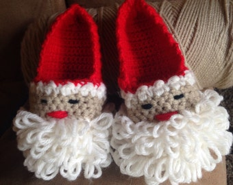 Hand made Santa slippers toddler- adult sizes.