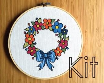 Cross stitch kit DIY: 'Summer Wreath'