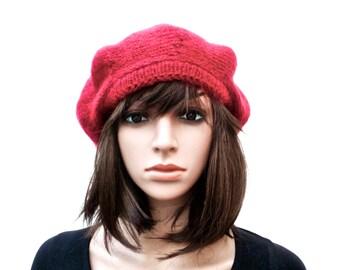 Handmade Hat, Beret, Raspberry Beret, Raspberry Hat, Knit Hat, Irish Hat, Handmade in Ireland, Mohair, Kid Mohair