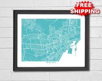 Malaga Map Art - Map Print - Spain - Europe - Map Print - Home Map - Travel - Custom Map - World Map - Housewarming Gift Decor Vacation