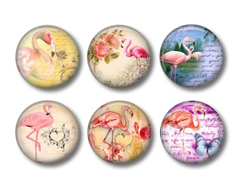 Pink Flamingo Magnets, Fridge Magnets, Kitchen Magnets, Button Magnets, Fridge Magnet Set, Cute Fridge Magnets, Pink Flamingo
