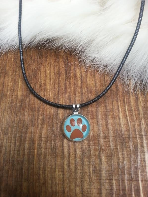 Silver Paw Cavachons: Silver Paw Print Necklace Leather Cord Chain Charm By