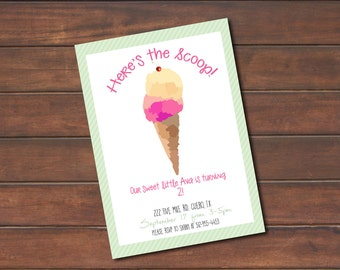 Here's the Scoop Ice Cream Social Party Invitation *DIGITAL FILE* (.jpg or PDF)