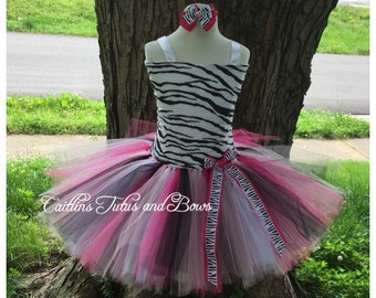 Zebra tutu dress, zebra birthday tutu, zebra dress, zebra costume, zebra tutu, animal print tutu, pink and black zebra tutu, pink zebra tutu