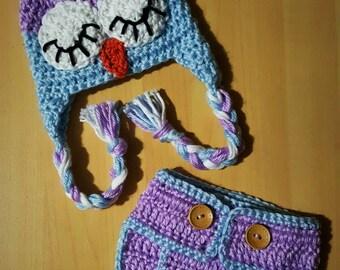 Crochet Sleepy Owl Hat and Diaper Cover