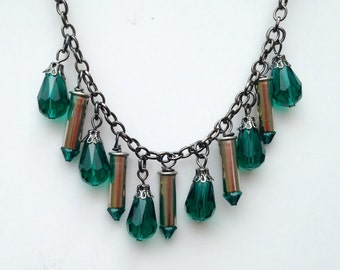 22 Caliber Silver Bullet Casing Necklace with Emerald Faceted Glass Beads, Womens necklace, Upcycled bullets, Bullet jewelry
