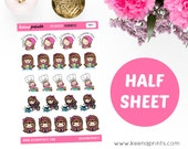 "H001 | CHORES KEENACHI Halfsheet 1"" Repositionable stickers Perfect for Erin Condren Life Planner, Filofax, Plum Paper or scrapbooking"