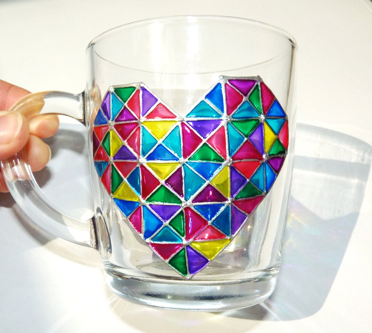 Large Glass Coffee Mug With Mosaic Heart Gift For Her Gift