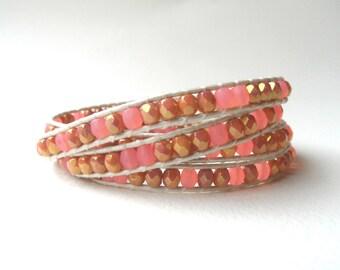Rose gold wrap bracelet, leather wrap bracelet, boho bracelet, rose gold bracelet, pink gold wrap bracelet, pink gold bracelet