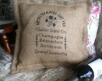 Hessian (burlap) Cushion, vintage, rustic, French shabby chic. Gift.