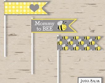 Mommy to Bee Straw Flags Baby Shower Cupcake Flags Party Yellow Grey DIY Printable INSTANT DOWNLOAD BEE001