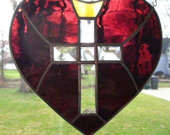 """Purple Heart with Beveled Cross and Golden Crown, New Stained Glass Suncatcher  9""""x 9"""" Hanging Hardware Incl., U.S. ARTIST / MADE ! 2016"""