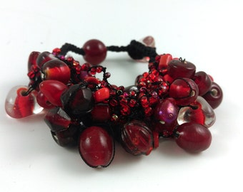 Ruby Red Glass Cluster Bead Bracelet