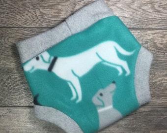 Medium Fleece Diaper Cover, Fleece Soaker, Dog