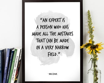 An expert  (...),  Niels Bohr,  Niels Bohr Watercolor Poster, Wall Art Science quote, Life quote, Inspirational quote,