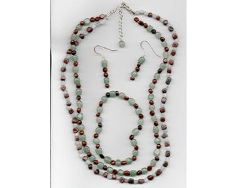 Handcrafted, three piece, two strand necklace set