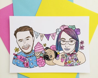 A5 custom couple portrait (2 persons only, unframed)