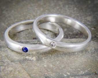 Sapphire diamond silver ring - Flush set simple ring - stacking ring - Available with other stones