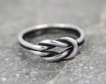 Sailors knot ring - oxidised knot ring - simple stacking ring made with Sterling silver