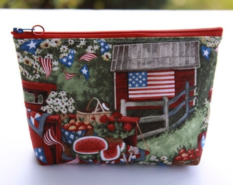 Patriotic Cosmetic bag accessory case tech bag