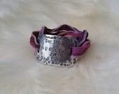 Silk Wrap Bracelet Smile Breathe Go Slowly Custom Hand Stamped Aluminum Pink Berry