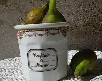 Decoration Garland of flowers porcelain jam jar / French / porcelain jam jar