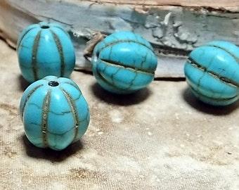 Howlite Turquoise Melon Beads, Four