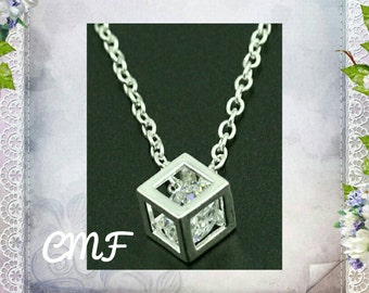 Cube Necklace 925 Sterling Silver Necklace Cube Pendant