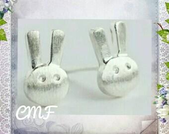 Rabbit Earrings 925 Sterling Silver Stud Earrings Bunny Earrings