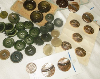 50 Brown & Green earth tone Buttons • medium large