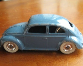 Rare Vtg Dinky Toys No.181 VW Blue Beetle Silver Hubs, White Tires c. 1954