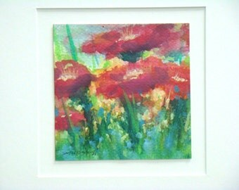 Red Poppies original framed watercolor Botanicals
