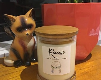 Pure Soy Candle Reiki Charged with Intention for Ritual- Receive