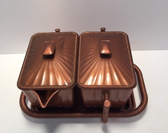 Vintage Plasmelt copper tone sugar creamer and tray