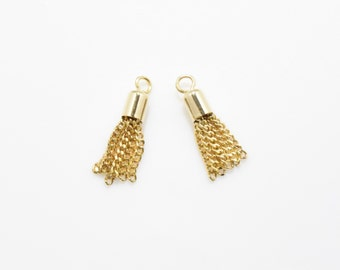 Gold Metal Tassel , Chain Tassel . Tiny Metal Tassel . 16K Polished Gold Plated over Brass Cap - 2pcs / YO0013-PG