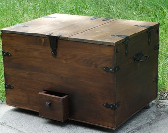 "Trunk coffee table,wine bar,wood coffee table,storage trunk,storage chest trunk,wine storage,wine cabinet,steamer trunk ""Pirate Treasure""."