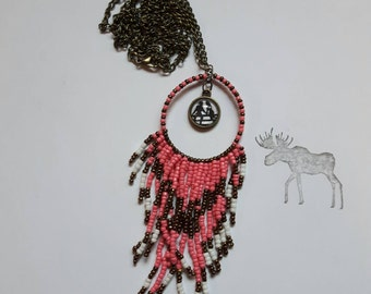 "30"" Bronze Dream catcher Necklace with Country Love Cabochon"
