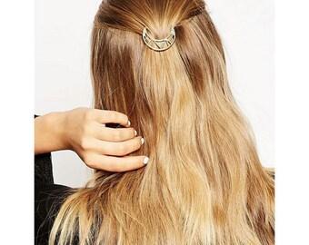 Cute and Simple Cutout Gold Moon Hair Barrette